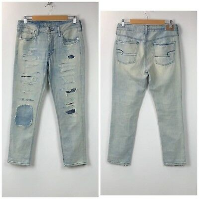 7f6679e244 American Eagle 4 Womens Light Distressed Patchwork Button-fly Tomgirl Jeans