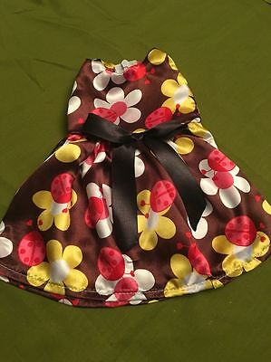 """Doll Dress Satin Floral Spring Dress Fits 18"""" American girl Doll Clothes"""