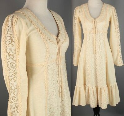 VTG Women's 70s Cream Gunne Sax Peasant Dress #2443 70s Hippy Boho 1970s