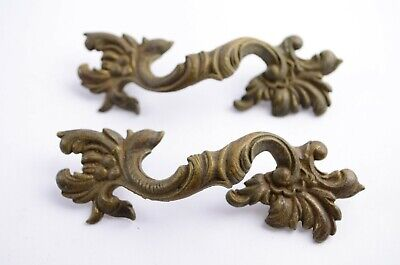 """Lot of Two Antique Drawer Furniture Ornate Pulls Handles Brass 4"""" Rococo"""