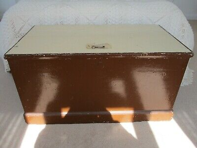 19c Vintage Original Old Wooden Sea Chest & Complete Interior & Original Key.