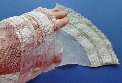 A Pair Of Victorian Engageant Sleeves Edged With Valenciennes Lace & Embroidery