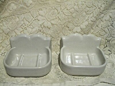 Vintage White Porcelain Bathroom Wall Mount Matching Soap Dishes