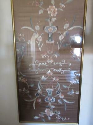 A Stunning Antique  Chinese Embroidered Silk Framed And Glazed Panel