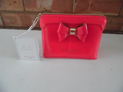 Ted Baker Red Deep Pink Patent Layered Bow Make Up Cosmetics Small Bag Brand New
