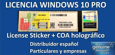 x20 Licencias Windows 10 Pro COA PEGATINA STICKER FQC-08929 LICENCIA 32/64 Bit
