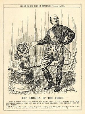 Vintage 1928 Punch Cartoon - Mussolini - Freedom/Liberty  Of Press - Censorship