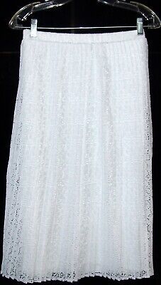 c7eaccd2b NEW Design History LINED PLEATED lacy Midi Skirt WHITE SZ L RETAIL $119.00