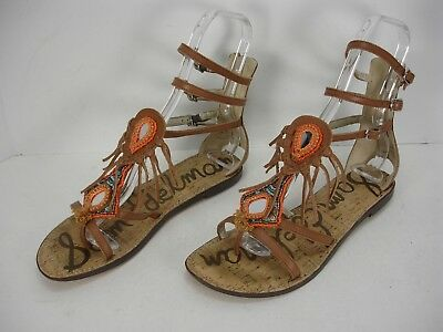 e476bb296 Sam Edelman Genesee Leather Gladiator Back Zip Beaded Sandals Women s 9.5 M