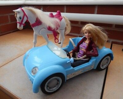 Barbie Beach Glam Car,Horse And Barbie Doll