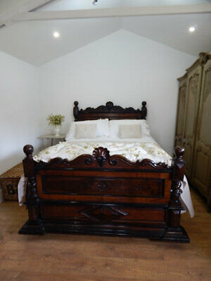 Antique french king size bed with bed base