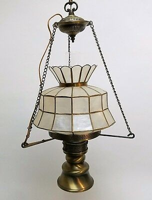 Vintage Hanging Light Fixture with Hurricane Shade & Capiz Lamp Shade Midcentury