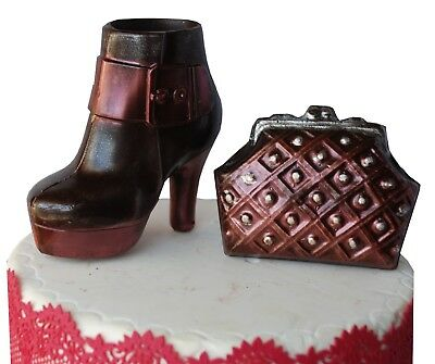Dark Chocolate Boot & Bag Handmade Gift or Cake Topper Decoration.