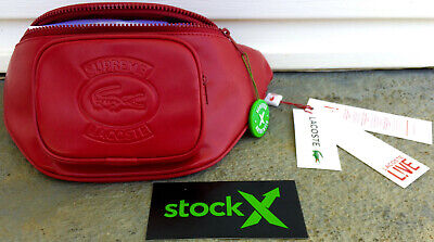 79b9ac4e Supreme x Lacoste Waist Bag Red Leather T-Shirt Stock X 100% Authentic RARE