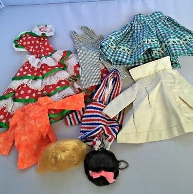 Vintage Lot Barbie Clothes 1960s 1970s Wigs Some Handmade Clones Overalls PJ