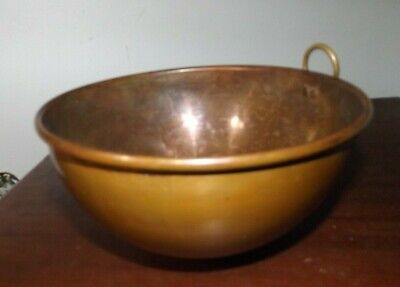 Antique Vintage Heavy Solid Copper Rolled Rim Mixing Bowl Good Cond. Minor Dings