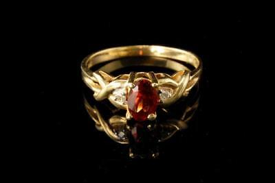 Vintage Red Garnet Diamond 14K Gold Ring A802-12