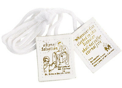 Our Lady of Mount Carmel White Leather Scapular