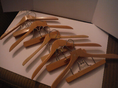 "LOT of 5 VINTAGE Wooden 18"" Hangers w Pant Trouser Clamp - Nevco Esquire & Other"