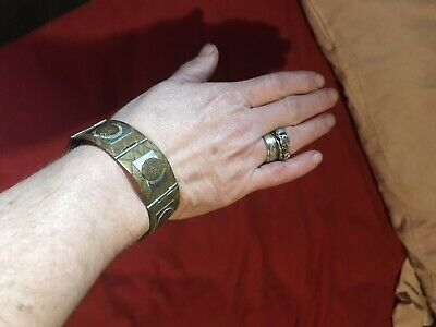Vintage Mexican Taxco 925 Sterling Silver Bracelet with Aztec Motif
