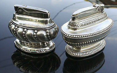 Vintage Antique Ronson Queen Anne and Crown Lighters Silver Plated Heavy Ornate