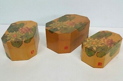 Set of 3 Old Chinese People's Republic Wood Nesting Boxes