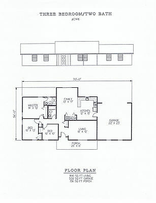 1416 square foot three bedroom house plan