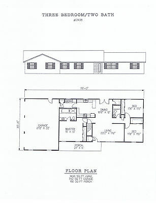 1438 square foot three bedroom house plan