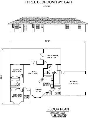 1570 square foot three bedroom house plan