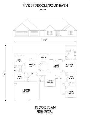3079 square foot five bedroom house plan