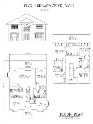 2928 square foot five bedroom house plan