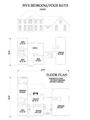 3070 square foot five bedroom house plan