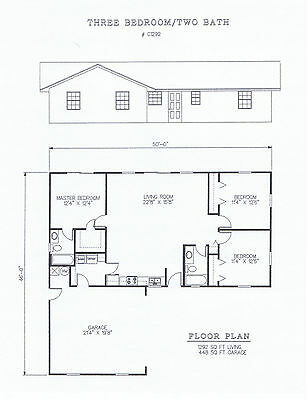 1292 square foot three bedroom house plan