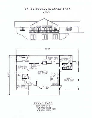 2024 square foot three bedroom house plan
