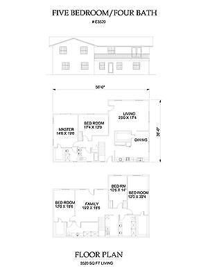 3520 square foot five bedroom house plan