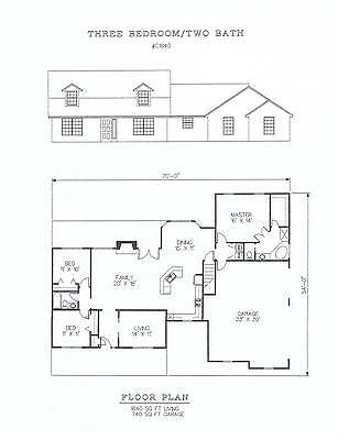 1840 square foot three bedroom house plan
