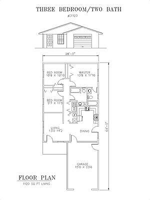 1120 square foot three bedroom house plan