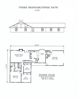 2236 square foot three bedroom house plan