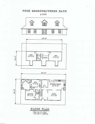 2096 square foot four bedroom house plan