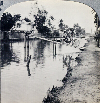 Keystone Stereoview Georgetown Channel, BRITISH GUIANA From RARE 1200 Card Set