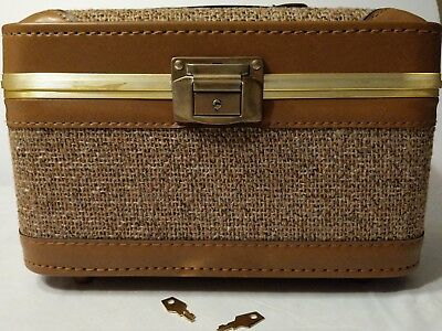 Vintage Traveling/ Makeup Case, Mirror, Pouch and Keys