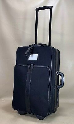"""Coach Black Leather & Nylon 22"""" Upright Roller Carry On Suitcase Luggage No.5955"""