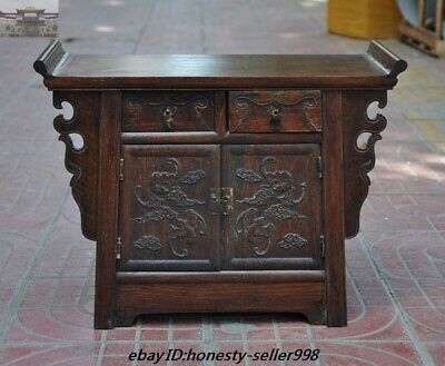 """18"""" Chinese Huanghuali Wood Carved bat Drawer Lockers cabinet table desk Statue"""
