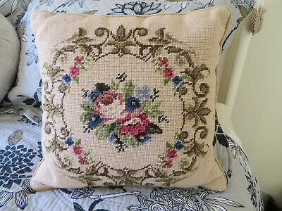 Tapestry floral beige needlepoint cushion