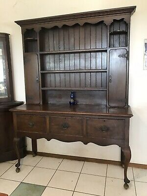 Antique Edwardian Hutch Dresser Display Cabinet Kitchen Sideboard