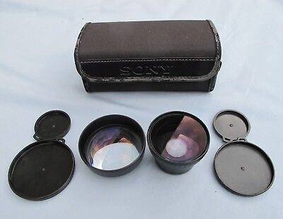 Sony VCL-1437A And VCL-0637A Telephoto / Wide Angle Conversion Lenses With Case