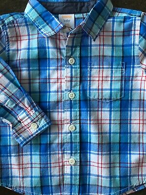 Gymboree shirt size 6 12 Months boys long sleeved cotton Dress Top Blue Plaid