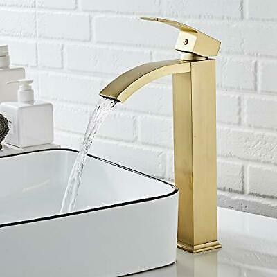 Single Handle Basin Sink Faucet Waterfall Vessel Antique Brass Tall Tap Mixer