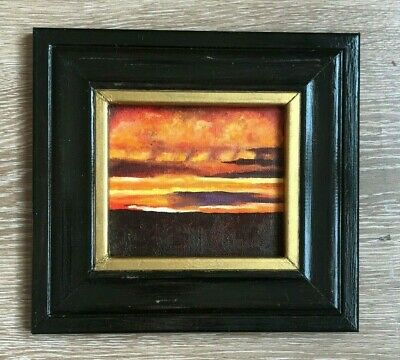 Original oil painting red sunset  handmade fine art framed hand painted decor