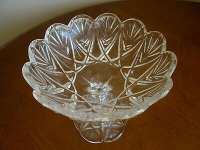 """Mikasa Crystal Glass 6"""" Saturn Footed Candy / Nut Dish / Bowl"""